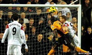 Big George Elokobi gives Wolves the lead against Man Utd.