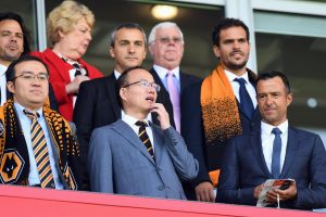 Wolves new owners alongside Jorge Mendes watch Wolves' opening game of the season v Rotherham.